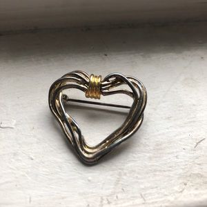 Vintage Gold & Silver Wire Heart Brooch